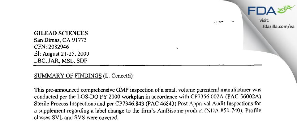 Gilead Sciences FDA inspection 483 Aug 2000