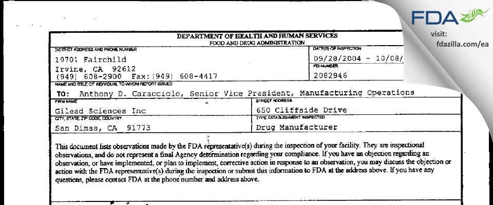 Gilead Sciences FDA inspection 483 Oct 2004