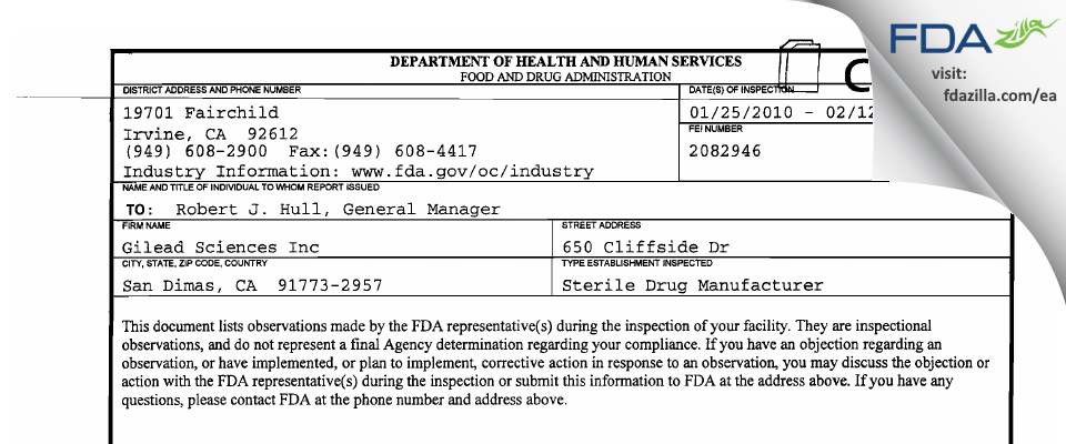 Gilead Sciences FDA inspection 483 Feb 2010