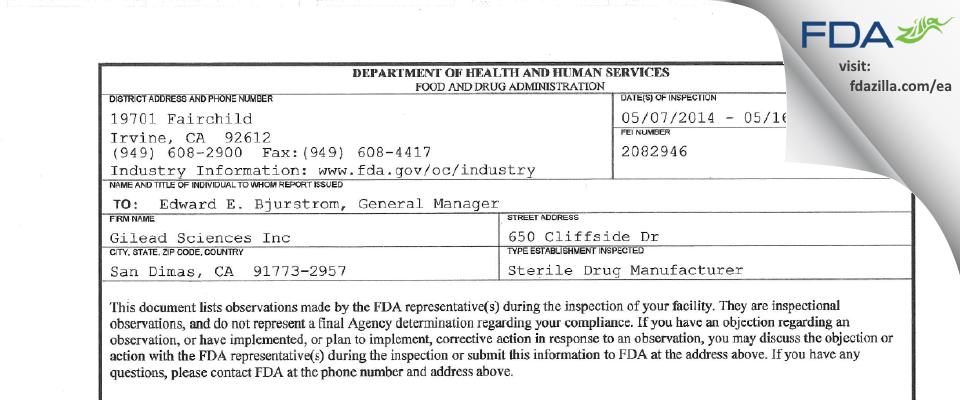 Gilead Sciences FDA inspection 483 May 2014