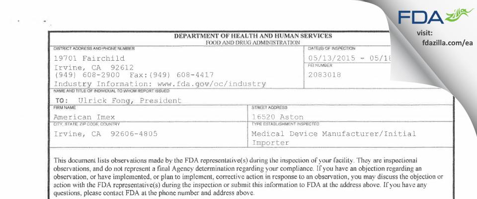 American Imex FDA inspection 483 May 2015