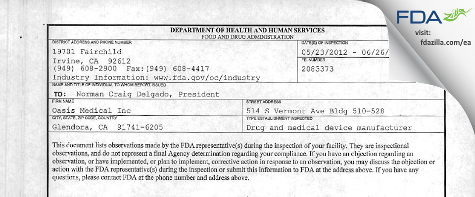 Oasis Medical FDA inspection 483 Jun 2012