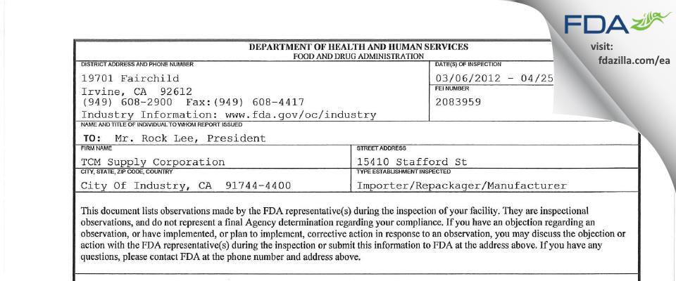 TCM Supply FDA inspection 483 Apr 2012