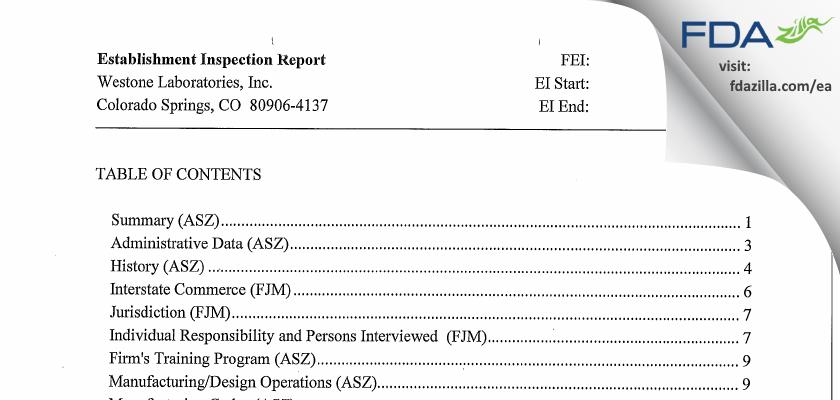 Westone Labs FDA inspection 483 Jul 2012