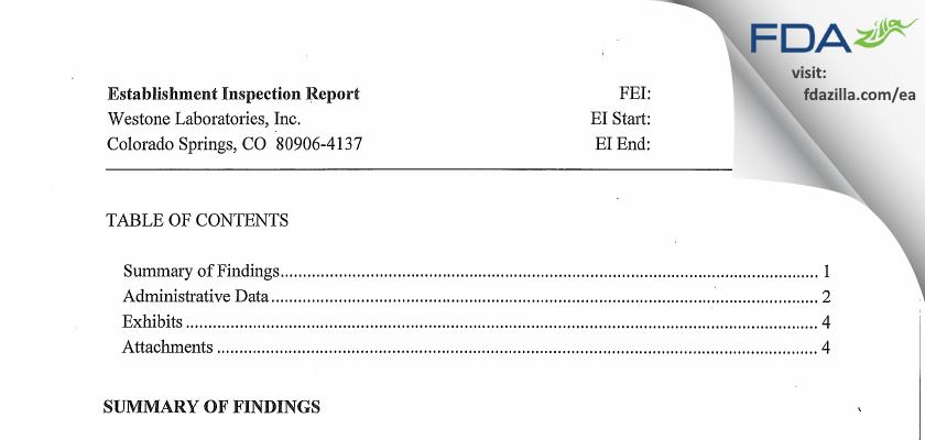 Westone Labs FDA inspection 483 Jan 2013