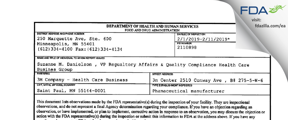 3M Company - Health Care Business FDA inspection 483 Feb 2019