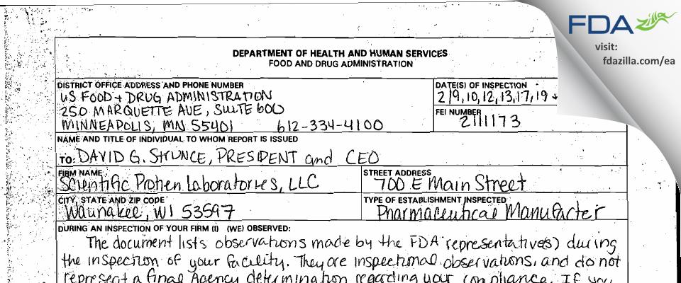Scientific Protein Labs FDA inspection 483 Mar 2009