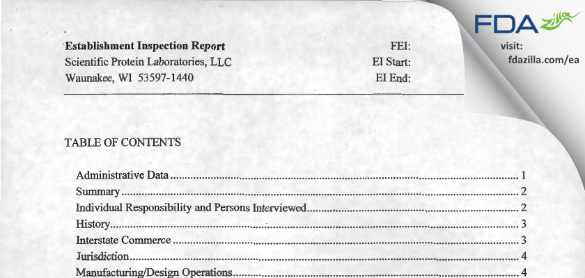 Scientific Protein Labs FDA inspection 483 Apr 2012