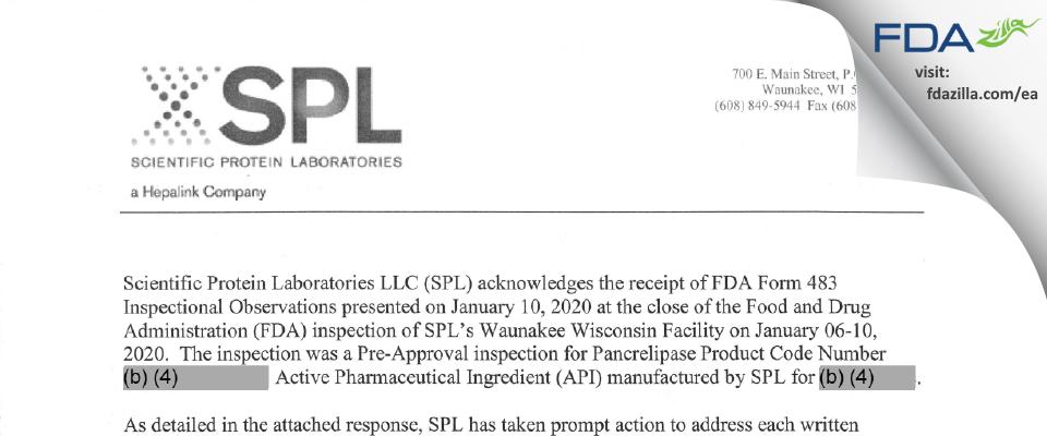 Scientific Protein Labs FDA inspection 483 Jan 2020