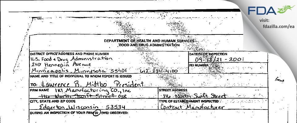 IKI  Mfg FDA inspection 483 Sep 2001