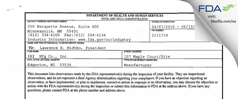 IKI  Mfg FDA inspection 483 Apr 2010