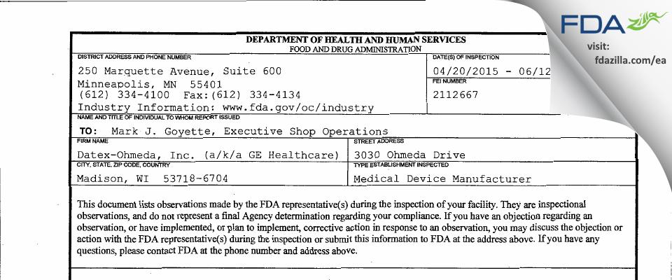 Datex-Ohmeda a/k/a GE Healthcare FDA inspection 483 Jun 2015