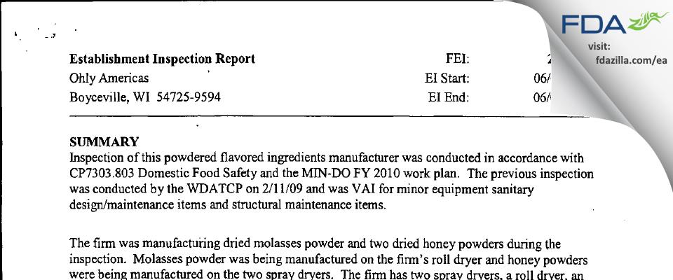 AB Mauri Food FDA inspection 483 Jun 2010