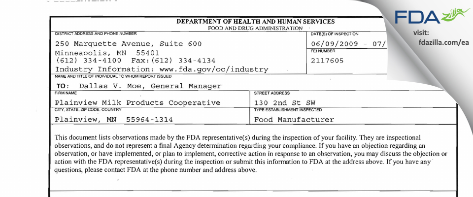 Plainview Milk Products Cooperative FDA inspection 483 Jul 2009