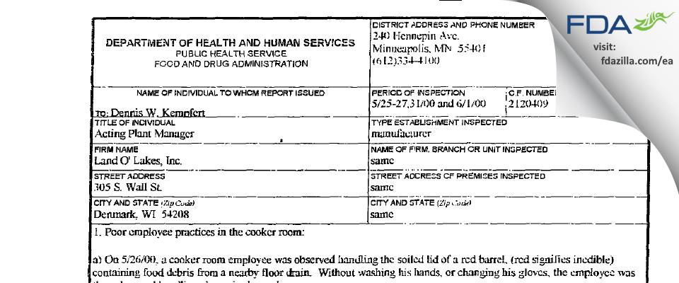 Land O'Lakes FDA inspection 483 Jun 2000