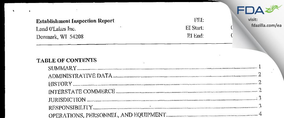 Land O'Lakes FDA inspection 483 Sep 2003