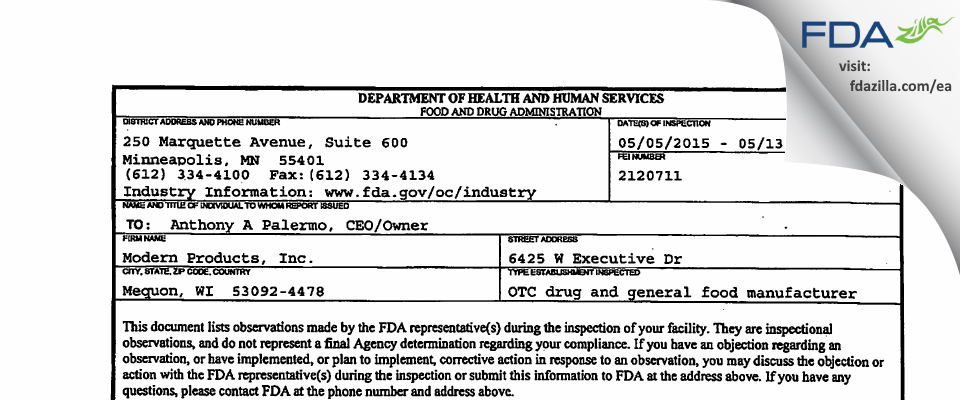Modern Products FDA inspection 483 May 2015