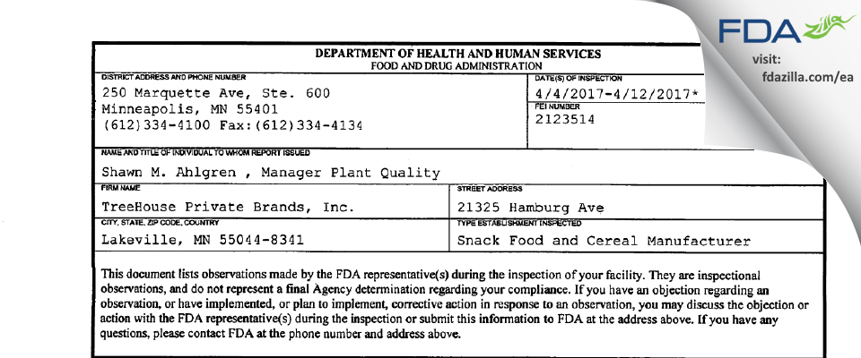 TreeHouse Private Brands FDA inspection 483 Apr 2017