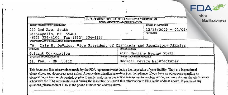 Boston Scientific FDA inspection 483 Feb 2006