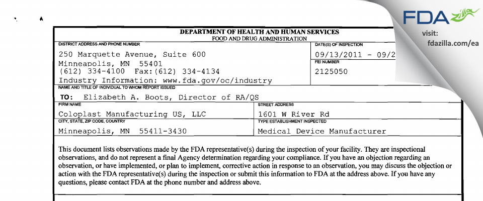 Coloplast Manufacturing US FDA inspection 483 Sep 2011