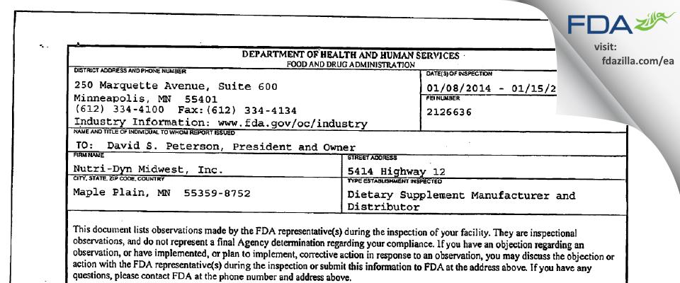 Nutri-Dyn Midwest FDA inspection 483 Jan 2014