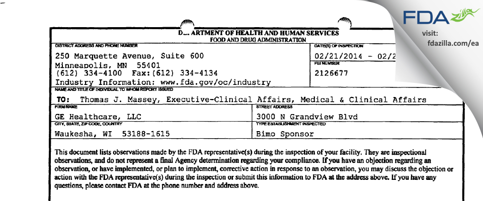 GE Medical Systems FDA inspection 483 Feb 2014