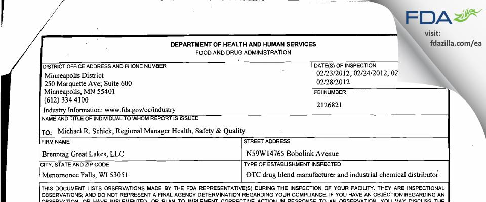 Brenntag Great Lakes FDA inspection 483 Feb 2012