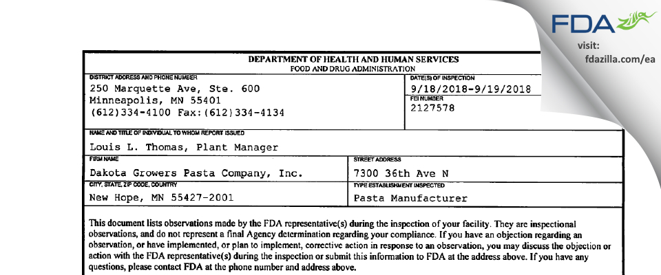 Dakota Growers Pasta Company FDA inspection 483 Sep 2018