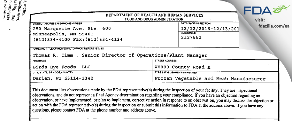 Birds Eye Foods FDA inspection 483 Dec 2016