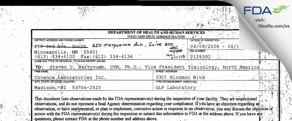 Covance Labs FDA inspection 483 Jun 2008