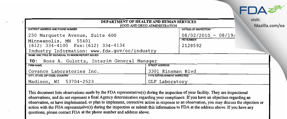Covance Labs FDA inspection 483 Aug 2010