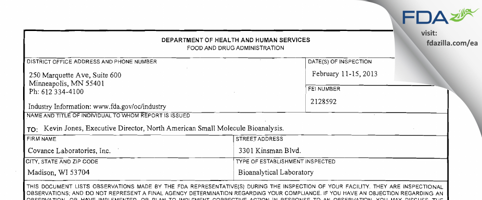 Covance Labs FDA inspection 483 Feb 2013