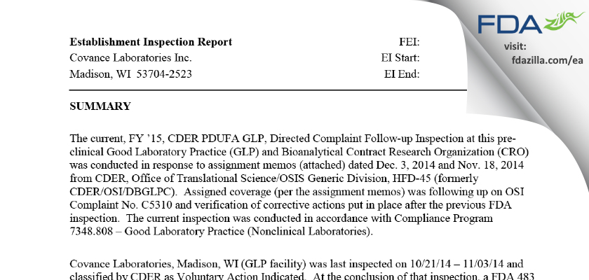 Covance Labs FDA inspection 483 Apr 2015
