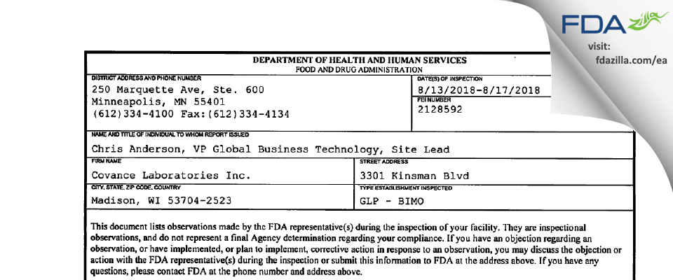 Covance Labs FDA inspection 483 Aug 2018