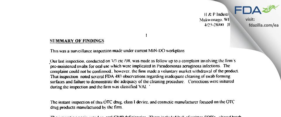 H & P Industries FDA inspection 483 Apr 2000