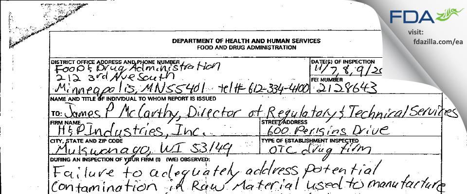 H & P Industries FDA inspection 483 Nov 2006