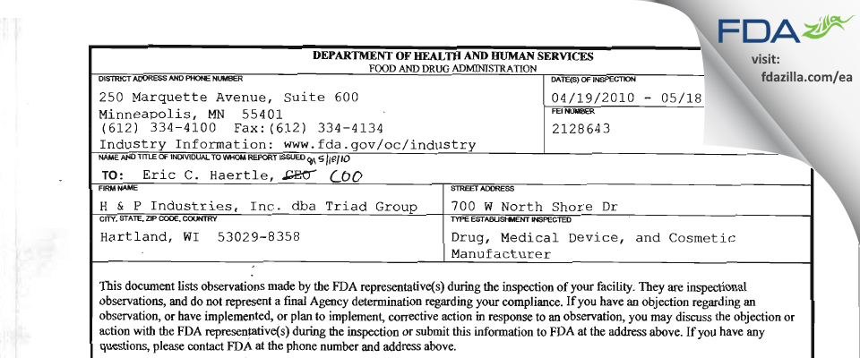 H & P Industries FDA inspection 483 May 2010