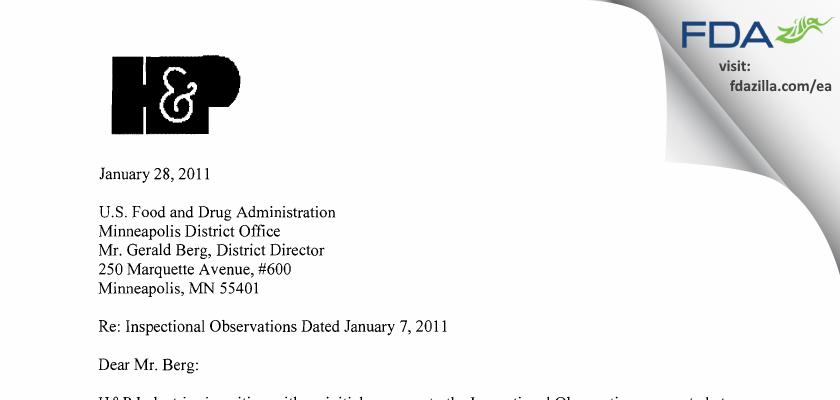 H & P Industries FDA inspection 483 Jan 2011