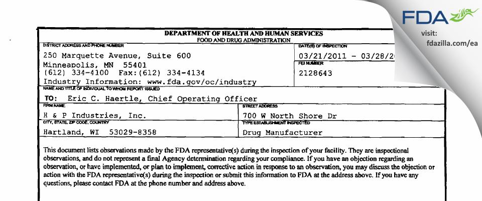 H & P Industries FDA inspection 483 Mar 2011