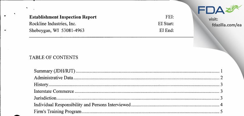 Rockline Industries FDA inspection 483 Feb 2013