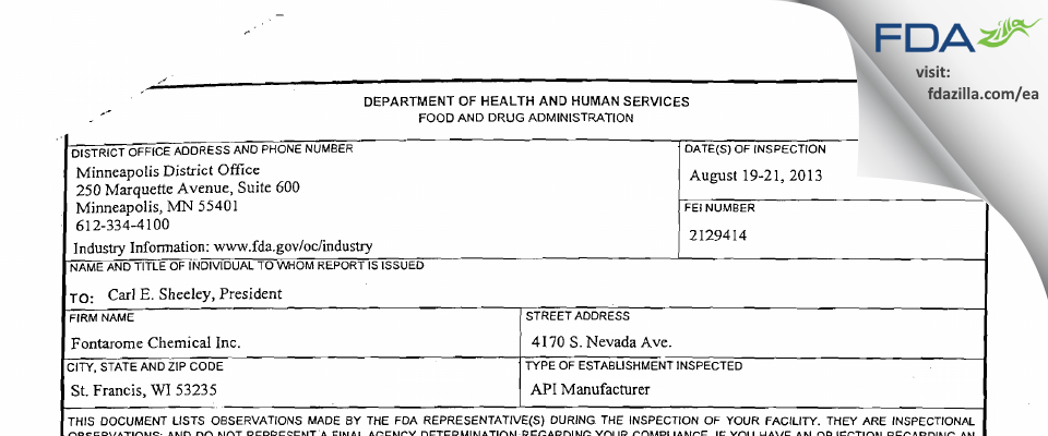 Apiscent Labs FDA inspection 483 Aug 2013