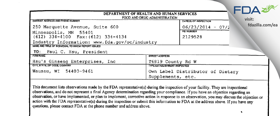 Hsu's Ginseng Enterprises FDA inspection 483 Jul 2014