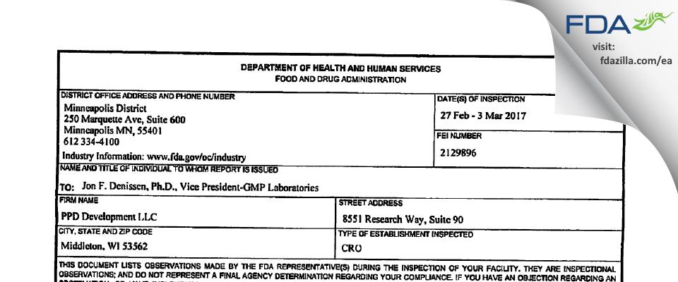 PPD Development LP FDA inspection 483 Mar 2017