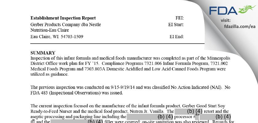 Nestle Healthcare Nutrition FDA inspection 483 Sep 2015