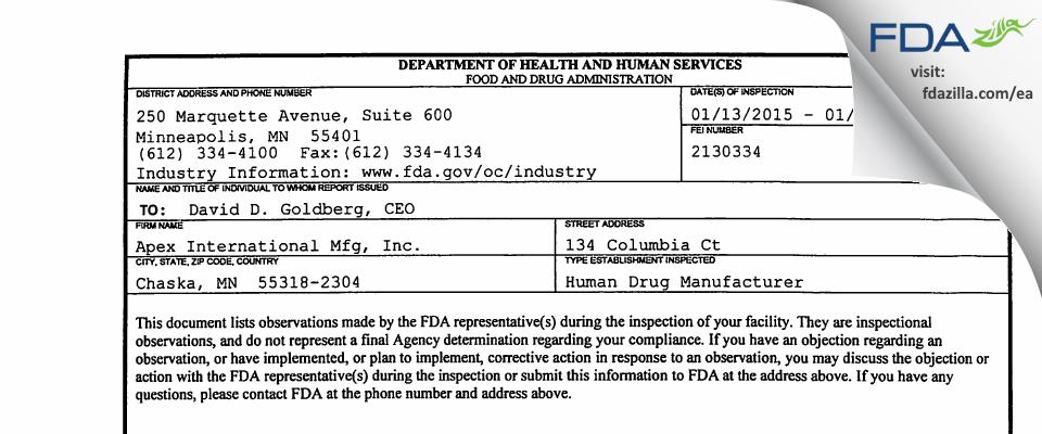 Apex International Mfg FDA inspection 483 Jan 2015