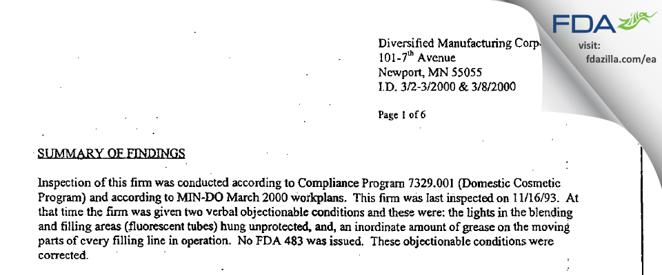 Diversified Manufacturing FDA inspection 483 Mar 2000