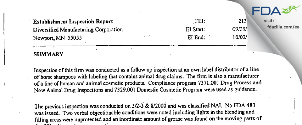 Diversified Manufacturing FDA inspection 483 Oct 2003