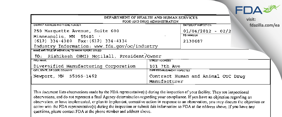 Diversified Manufacturing FDA inspection 483 Feb 2012