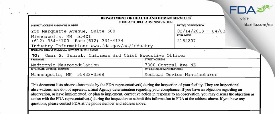 Medtronic Neuromodulation FDA inspection 483 Apr 2013