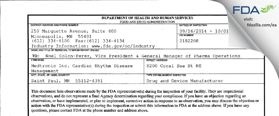 Medtronic, Cardiac Rhythm and Heart Failure (CRHF) FDA inspection 483 Oct 2014